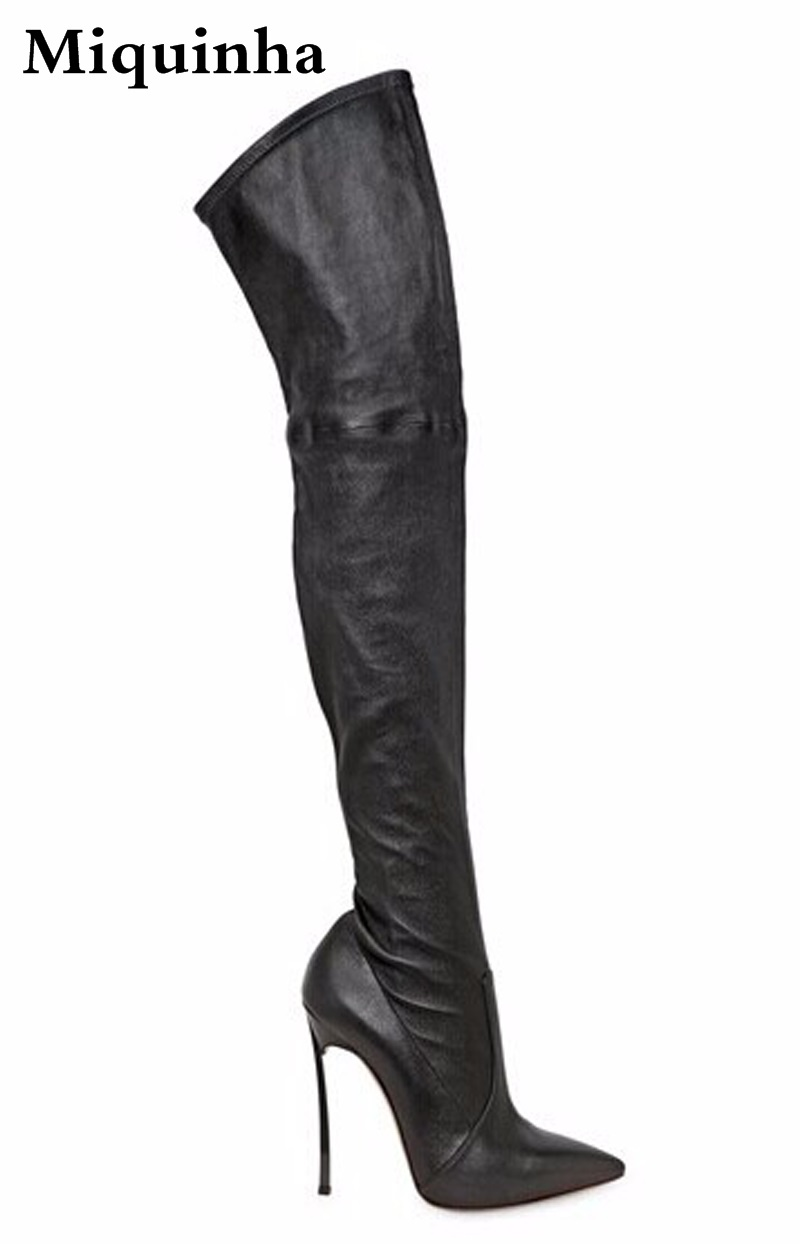 High Quality Women Fashion Pointed Toe Over Knee High Heel Boots Suede Leather Sexy Long Stiletto Heel Boots Dress Shoes