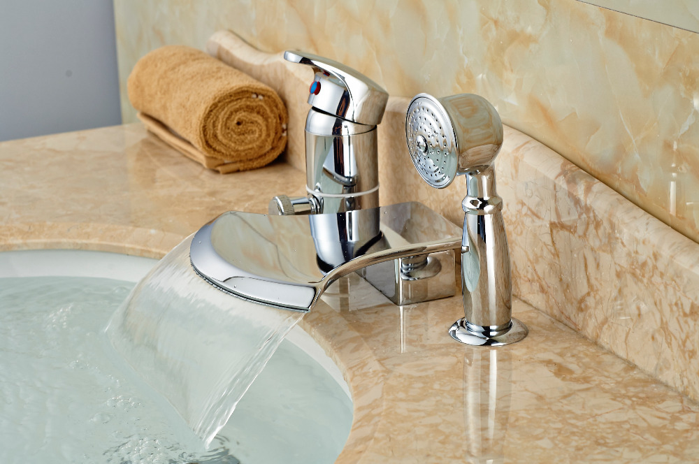 Deck Mounted Bathroom Tub Faucet Waterfall Spout W/ Hand Sprayer Diverter Mixer Tap wholesale and retail promotion elegant deck mounted shower faucet waterfall tub spout mixer tap diverter faucet