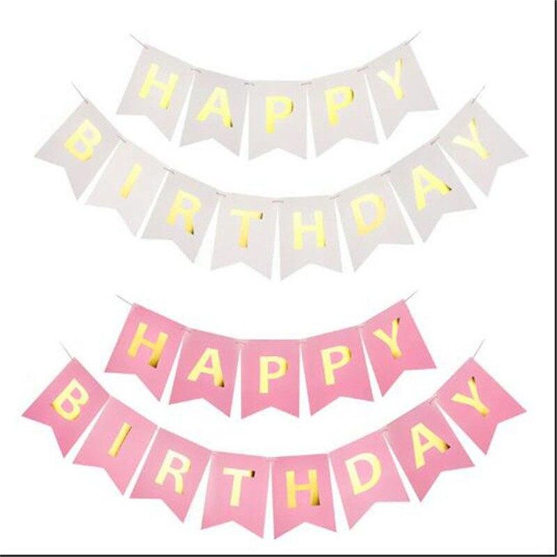 1 компл. С Днем Рождения овсянка Бумага баннер висит гирлянда строка флагов душа ребенка Дети День рождения украшения золотыми буквами 7z