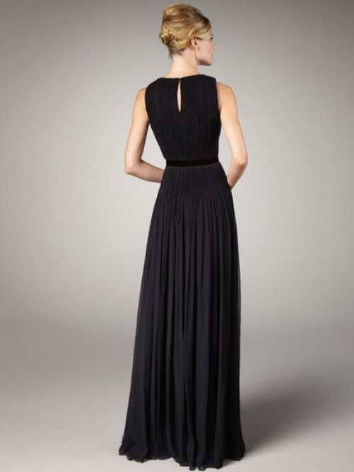 2015 Charming A-Line Scoop Neck Floor Length Chiffon Mother Of The Bride Dresses Long Evening Formal Dress Draped F1303