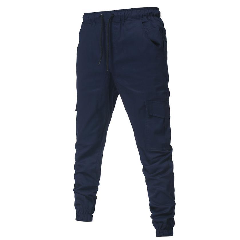 HTB1AL5RkiQnBKNjSZFmq6AApVXaD Men's Pants 2018 Fashion Men's Pure Color Bandage Casual Loose Sweatpants Drawstring Pant       july22