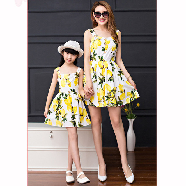 New Arrival Kids Girls Fresh lemon summer European Printed Dress Mother  Daughter high-end Dresses a8d265295