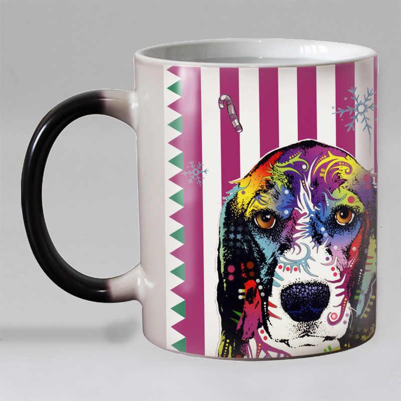 Nowy projekt śmieszne Pop psy ciepła odsłonić kubek kawy ceramiczne zmiana koloru magiczne kubki kubek do herbaty najlepszy prezent dla przyjaciół 11OZ