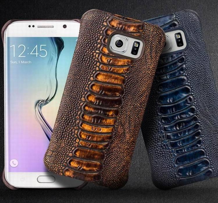 imágenes para 2015 QIALINO Genuino de Lujo Caja Del Teléfono de Cuero para Samsung Galaxy S6/S6 edge más Pata De Avestruz Textura de La Contraportada