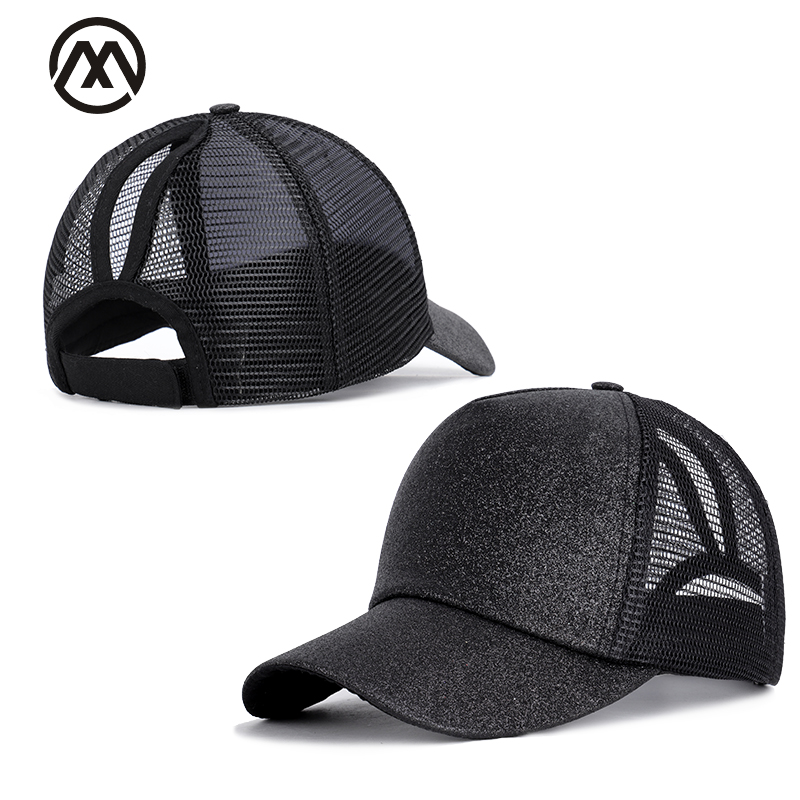 Sparkling high ponytail   baseball     caps   summer mesh   cap   solid color adjustable high quality outdoor sun hats casquette streetwear