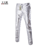 Gold Silver Black New Fashion Show Skinny Men Trousers Shiny PU Leather Male Pants Nightclub Stage