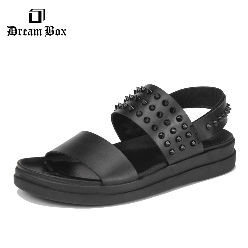 dreambox Summer European and American fashion casual, thick bottom muffin, real leather breathable men cold slippers Roman shoes dreambox summer leisure trends in europe and america mesh breathable shoes set foot thick soled shoes