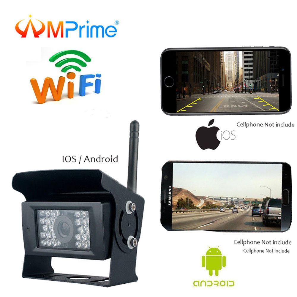 Caméra de recul WIFI AMPrime caméra de recul caméra de Vision nocturne caméra de recul pour iPhone et Android