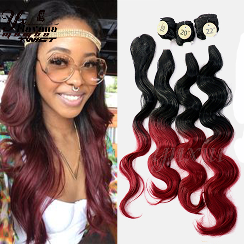 Heat Resistant Ombre Synthetic Hair Weave 3 Tone Color Loose Wave