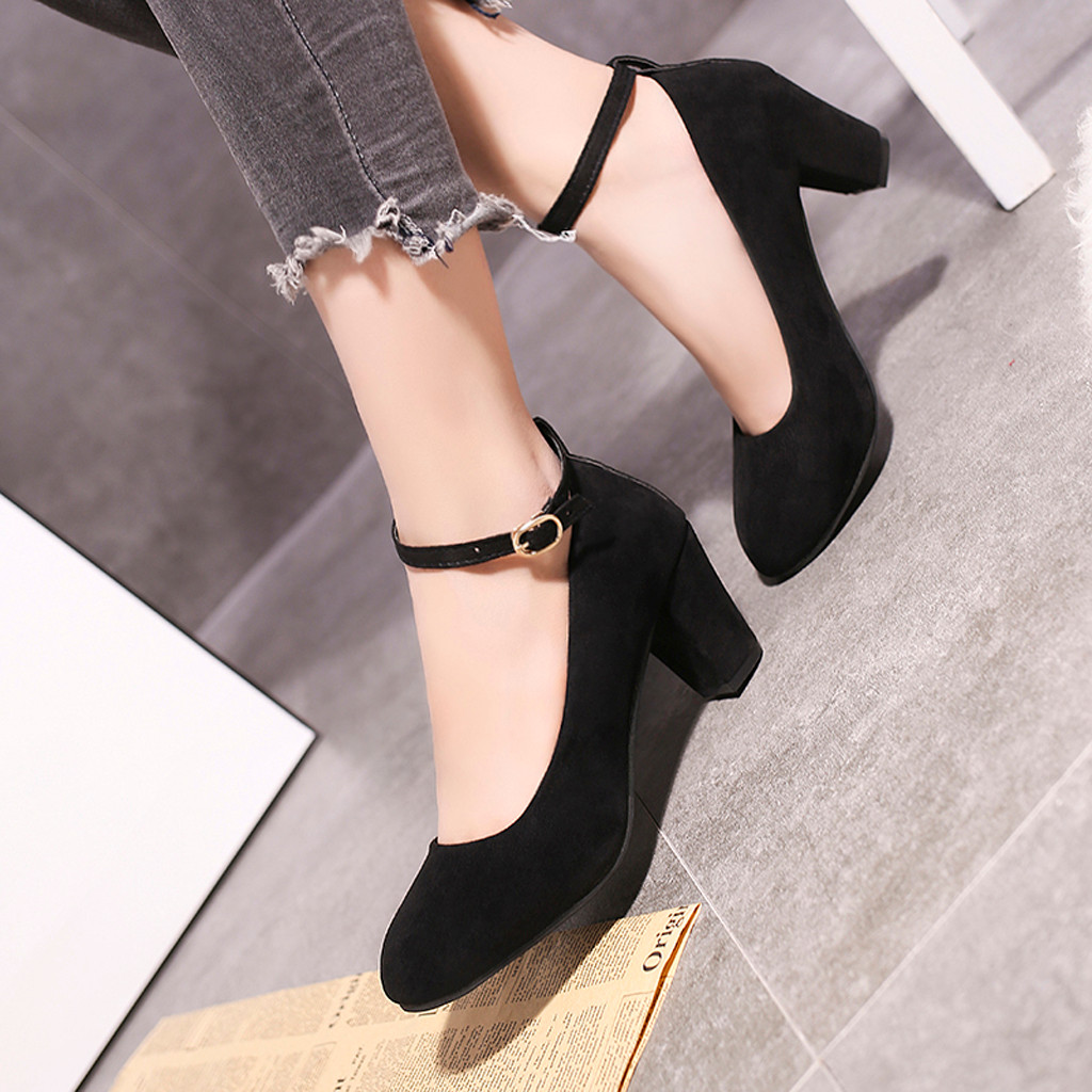MUQGEW Fashion <font><b>Women's</b></font> Sexy One Word Buckle Round Head Non-Slip High <font><b>Heel</b></font> Single Shoes Zapatos Mujer Elegant style #<font><b>18</b></font> image