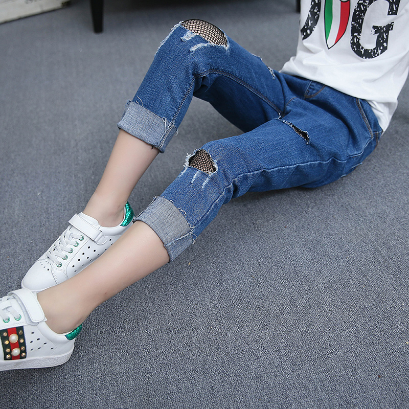 Girls fashion grid stitching jeans Children Spring and summer fishing <font><b>net</b></font> trimming pencil pants Mesh Ankle-length pants