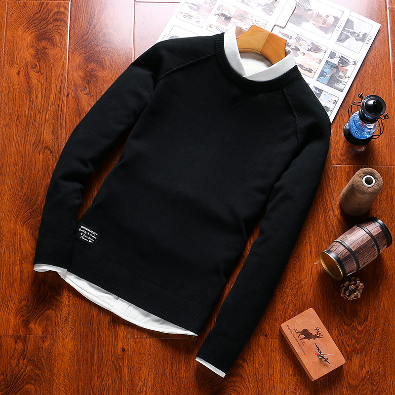 2019 Autumn O-Neck Mens Sweater Mens Long Sleeve Sweter Multicolor 100%Cotton Casual Brand Knitted Clothes Formal Mens Sweaters