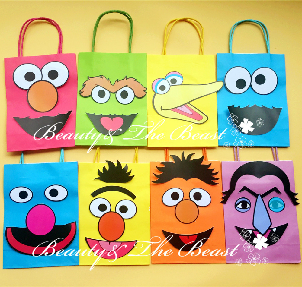 Sesame Street Favor Bags Gift Bags Birthday Party Decorations Kids Party Supplies Baby Shower Candy Bar Cartoon Bags