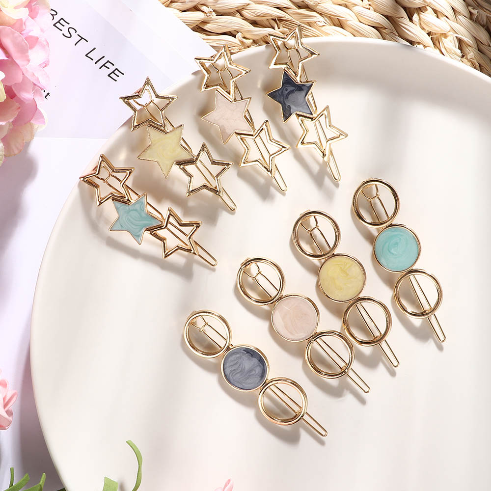 8 Style Temperament Side Hair Clip Five-pointed Star Round Clips Bangs Clip Broken Sweet Wild Hairpin Hair Styling Accessories