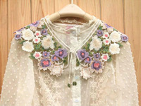 High grade France neckwear,Fashion decorative colored lace embroidery collar,patches for clothes