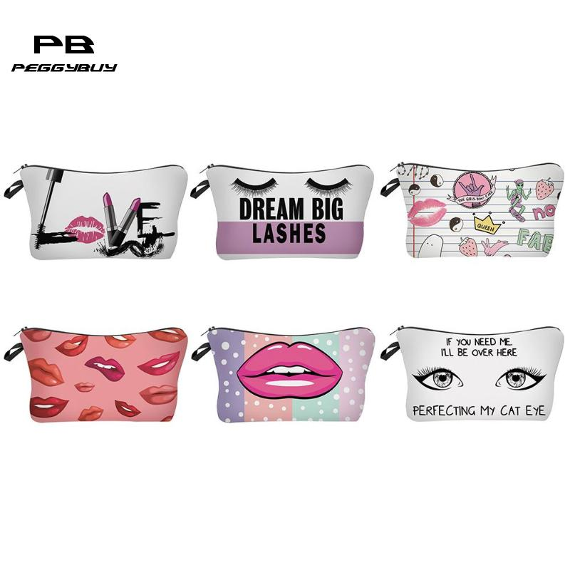 Pouch Women Toiletry-Bag Clutch Make-Up-Bags Cosmetic Main Eyes Print Femme Lip for Sac