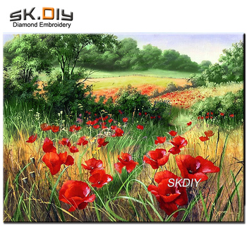 SK DIY 5D diamond mazayka Granni Makovoe pole landscape diamond painting diamond embroidery pattern rhinestone home decor hobby