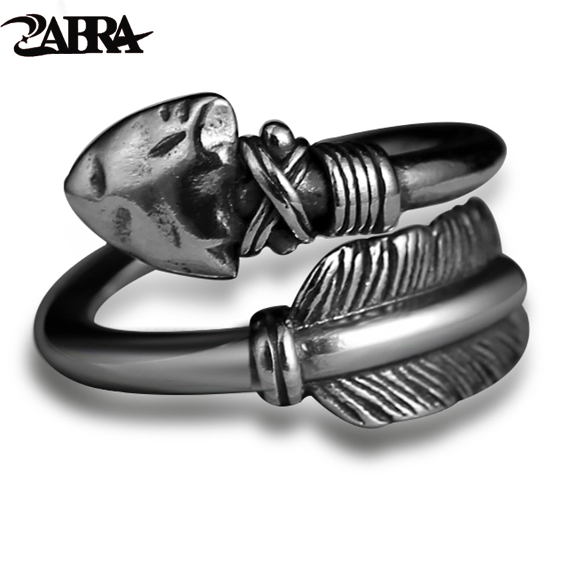 ZABRA Love Cupid's Arrows Vintage Genuine 925 Silver Men Ring Punk Big Black Adjustable Biker Mens Rings Արական ստերլինգ զարդեր