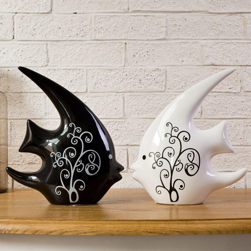 Helostoma Temmincki Statue Simulation Animal Shiri Ceramic Art&Craft Home Decoration Accessories For Living Room L2929