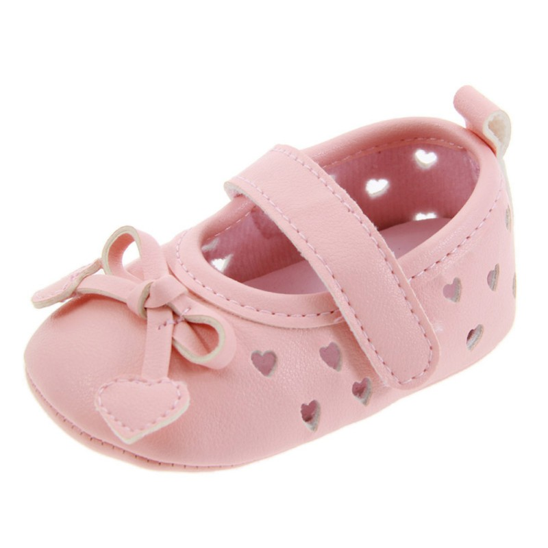 Cute Newborn Hot First Walkers Baby Girls Princess Shoes PU Leather Bow Hollow Soft Soled Anti-Slip Baby Toddler shoes