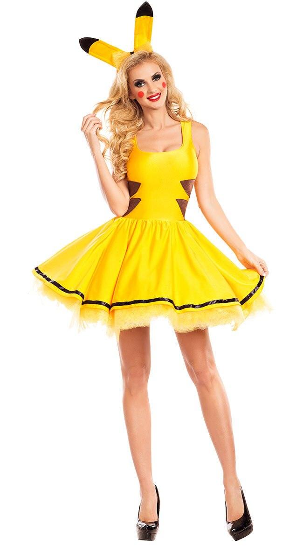 Japanese Anime Pocket Monster Pikachu Dress Costume Adult Women Yellow Pikachu Cosplay Fancy Dress