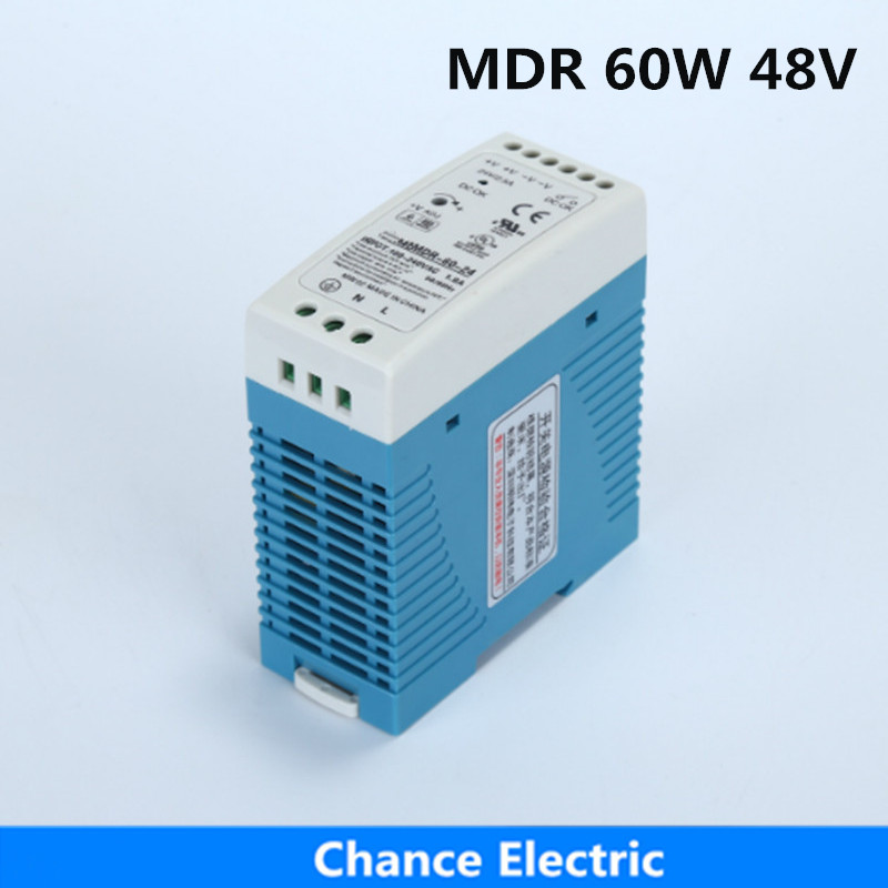 MDR 60W 48V DIN Rail Industry Switching Power Supply 1.25A for cnc cctv led light (MDR60W-48V) free shipping din rail industry switching power supply mdr 60w 5v 12a for cnc cctv led light mdr60w 5v