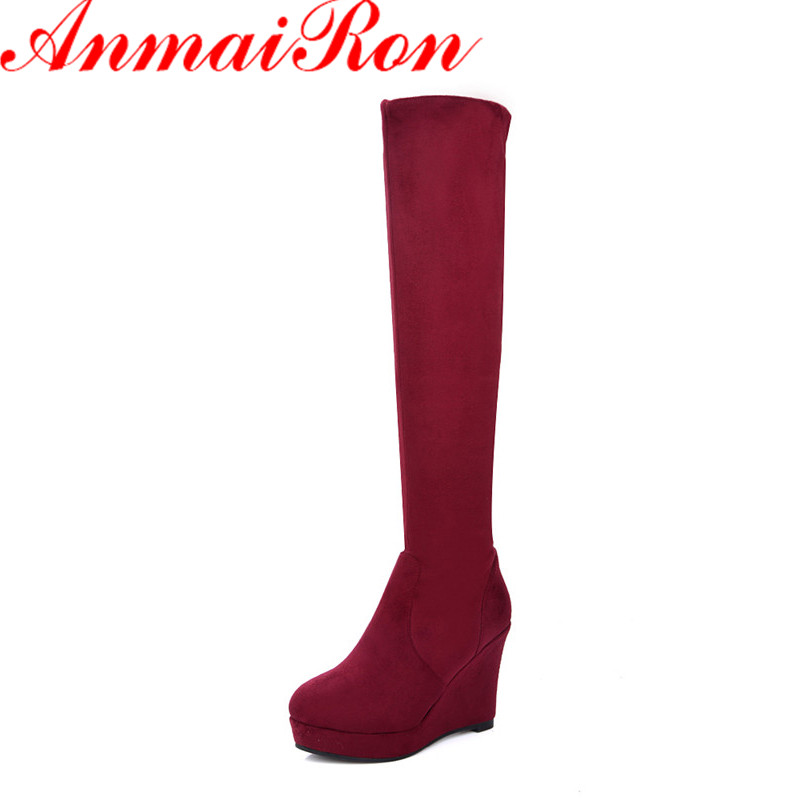 ANMAIRON Round Toe High Heels Winter Boots Shoes Woman Wedges Knee-high Boots for Women Size 34-39 Slip-on Classic BlackShoes enmayer high heels charms shoes woman classic black shoes round toe platform zippers knee high boots for women motorcycle boots