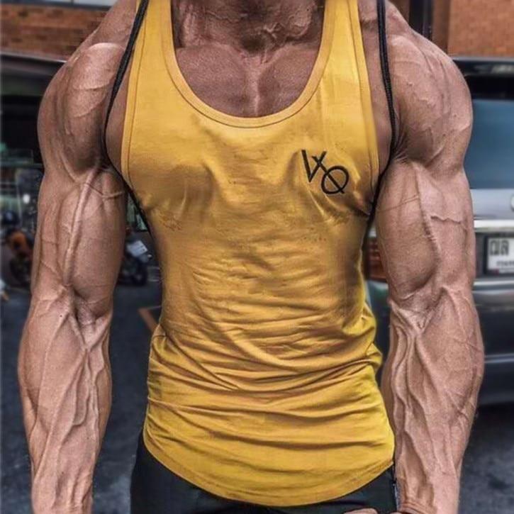 YEMEKE Fashion printing clothing bodybuilding stringer gyms   tank     top   men fitness singlet cotton sleeveless shirt muscle vest