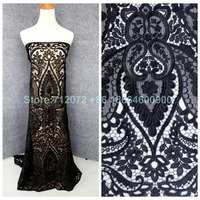 New Hight Quality Black White Blue Wine Hollow Embroidered Wedding Evening Dress Clothing Lace Fabric 1