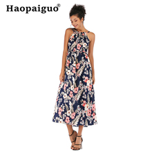 2019 Summer Print Floral Chiffon Dress Women Corset Slim Brief Casual Beach Dress Women Sleeveless Blue Bohemian Dresses Ladies bohemian plunging neckline sleeveless floral print dress for women