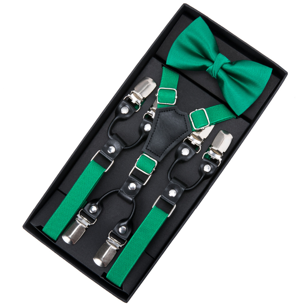 Suspenders Bow Tie Set Boys Fashion Suspensorio For Boys Girls Kids Bowtie 6 Clip Braces Trousers Tirantes Wedding BH-0021