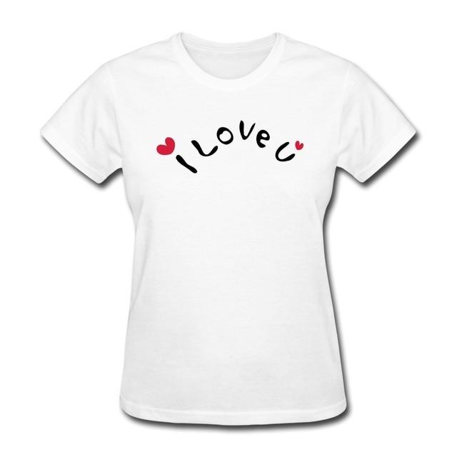 2014 Style Slim Fit Women T Shirt I Love U Txt Red Hearts Printed