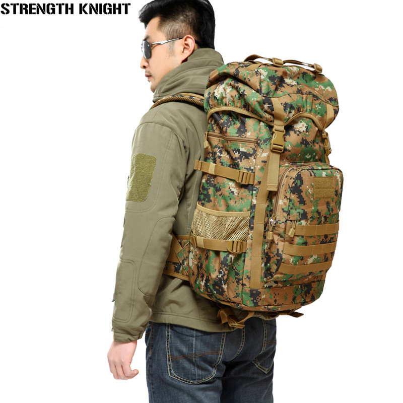 Hot Sale Men 50L Military Army Bag Men Backpack High Quality Waterproof Nylon Laptop Backpacks Camouflage Bags Free Shipping military army backpack 50l nylon water proof camp hike trekking camouflage backpacks large capacity men bag 2016