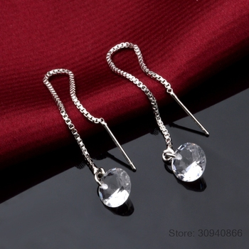 LEKANI Crystal from Swarovski Round Charm Tassels Long Drop Earring Fine Jewelry Vintage 925 Silver For Women Party Brinco 2