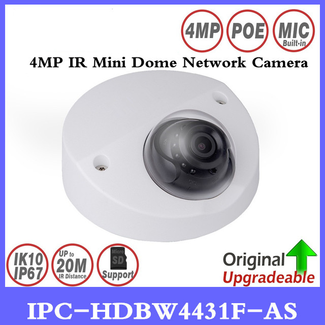 DH IPC-HDBW4431F-AS 4MP IR Mini Dome Network IP Camera 20m IR support Micro SD card Smart Detection H.265 WDR IP67 IK10 PoE 4mp poe dahua covert pinhole camera main unit ipc hum8431 e1 h 265 support smart detection and sd card metal case