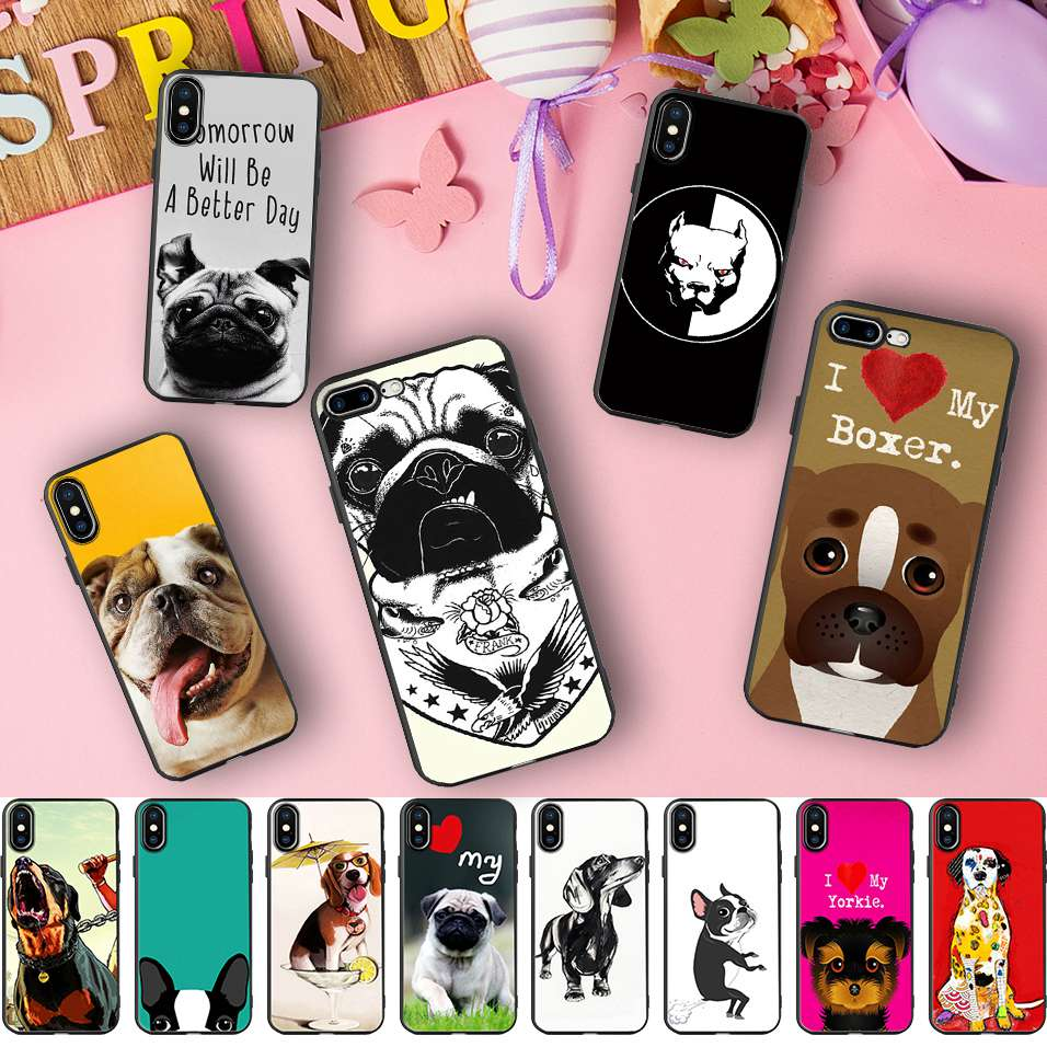 Minason Boston Terrier French Bulldog Box Dog Pitbull Puppies Soft Silicone Phone Case for iPhone X 5 S 5S 6 6S 7 8 Plus Cover