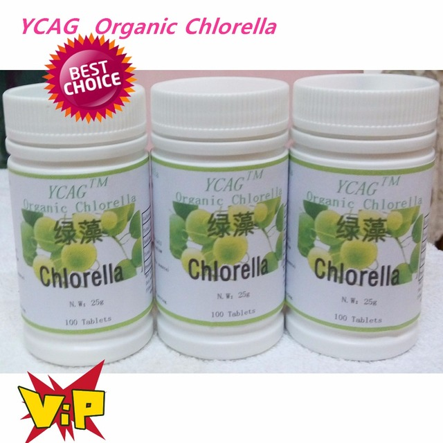 Envío Gratis 3 pack naturales tabletas Chlorella Vulgaris rica de clorofila, proteína