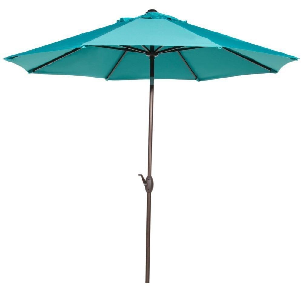 Abba Patio 9' Fade Resistant Fabric Aluminum Patio Umbrella with Auto Tilt and Crank Alu. 8 Ribs Blue abba patio 7 1 2 feet fiberglass rib beach patio aluminum umbrella with 2 sand anchors and push button tilt pacific blue