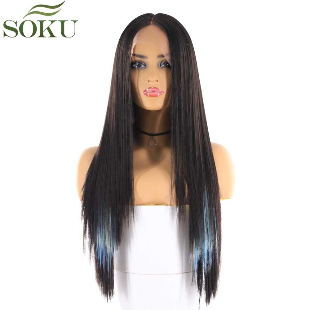 SOKU Wigs Middle-Part Lace-Front Glueless Synthetic Black Straight Women for Long 130%Density