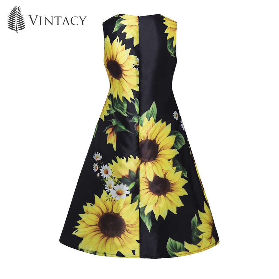 17c99334646 ... Black Floral Mini Dress Sleeveless Large Sizes A Line Short Beach  Sundress Sunflower Fashion Party Summer Dress. 1 2 3 4 6 7 ...