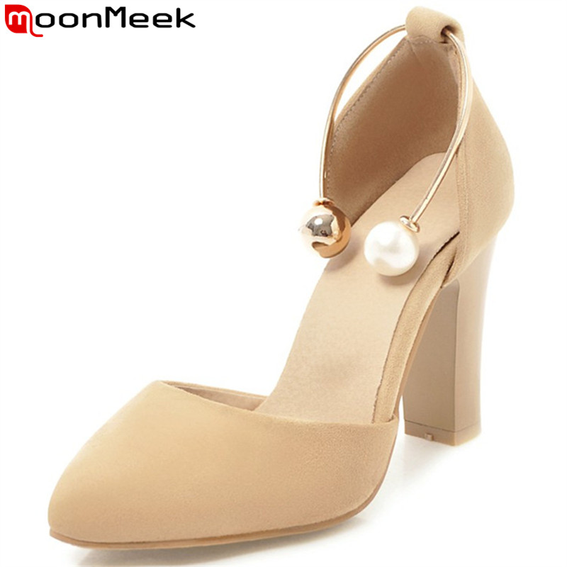 MoonMeek beige black fashion spring autumn shoes woman pointed toe shallow elegant pumps shoes women high heels shoes size 33-46MoonMeek beige black fashion spring autumn shoes woman pointed toe shallow elegant pumps shoes women high heels shoes size 33-46