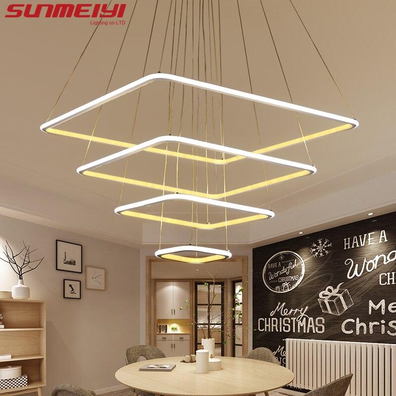 Современный квадратная светодиодная кольца лента подвесные светильники для Гостиная столовая свет люстра потолочный светильник led лампа