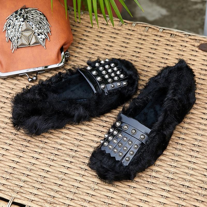 Femmes Fringe Black Rivet De Tassel Appartements Hiver Chaussures Mince Bateau grey Automne Laine Mujer Casual Femme Zapatos BqZ8CwvP