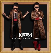 Free shipping bigbang Zhi-long right same style Leopard Long Shirt, Men DJ singer Fashion costumes large size M-4XL