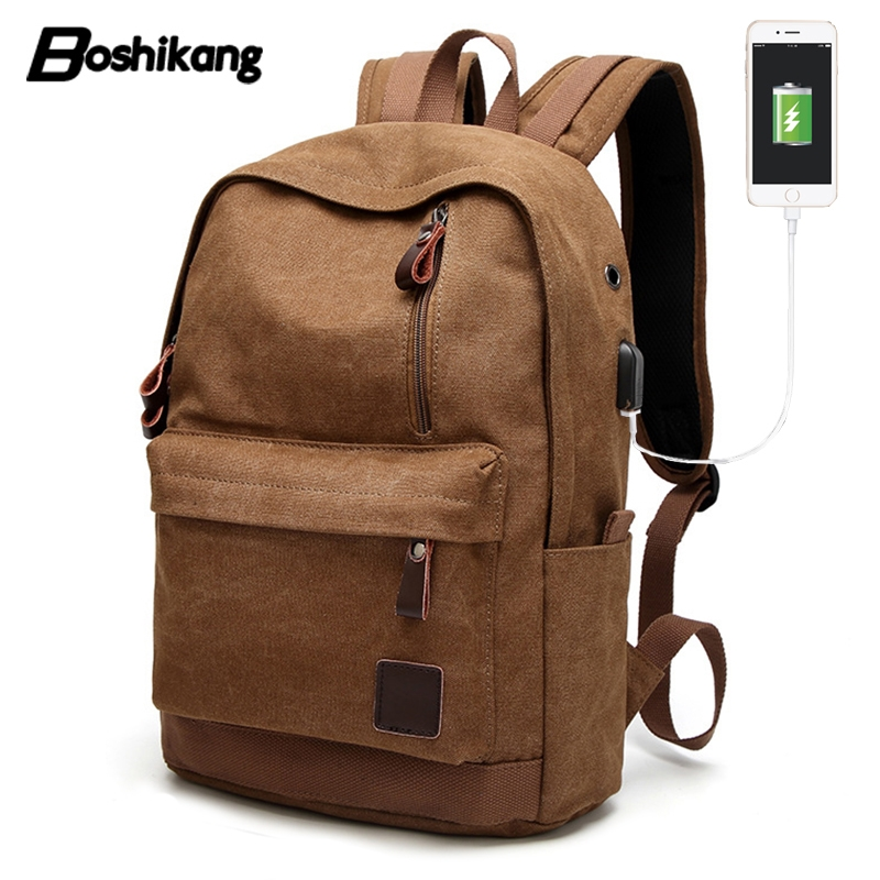 Boshikang USB Charging Men Backpack Casual Cotton Canvas College Student School Bags Vintage Laptop Travel Backpack Teenager