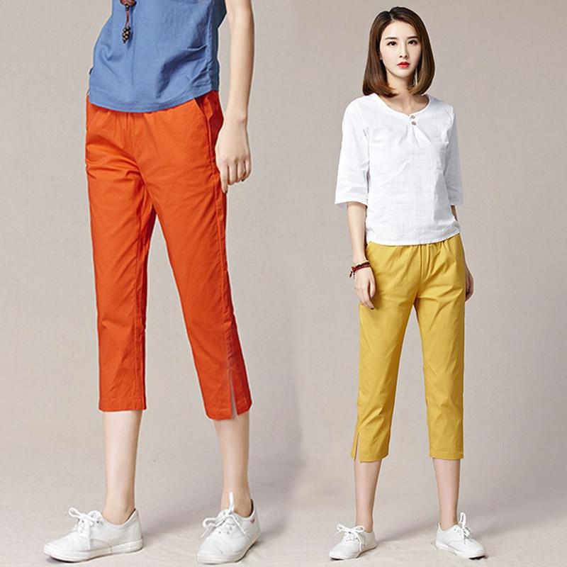 Solid Color   Capri     Pants   For Woman 2019 Summer Casual Harem   Pants   Women's Clothing Plus Size Elastic Waist Thin Trousers
