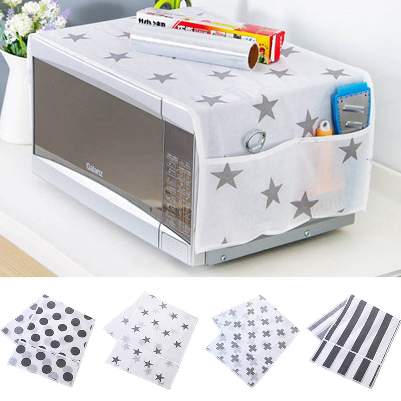 Microwave Oven Hood Waterproof Storage Bag 1pcs Dust Covers Microwave Cover Double Pocke ...