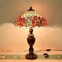 16 Дюймов Flesh Country Цветы Тиффани Настольная Лампа в Стиле Кантри Витражи Лампы для Спальни Прикроватная Лампа E27 110-240 В