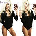 Playsuit 2017 Women Bodysuits Lace Deep V Neck Black Sexy Club Party Rompers Long Full Sleeve Bodycon Sheath Bodysuit Jumpsuits