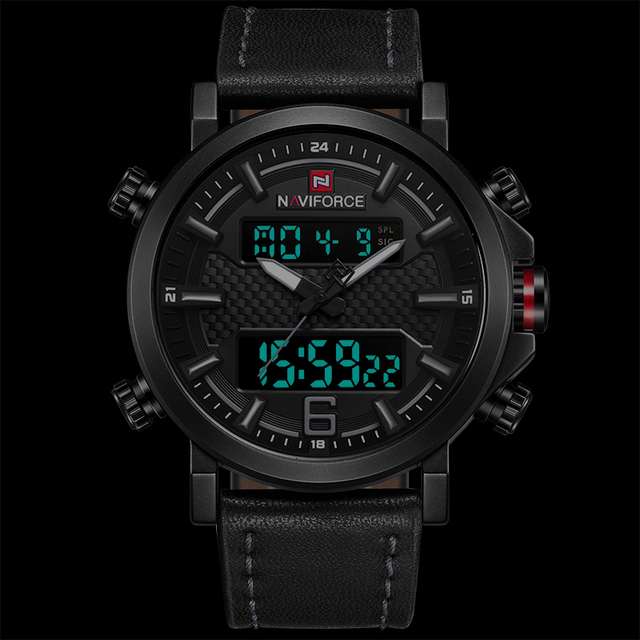 NAVIFORCE Mens Sports Watches Men Quartz LED Digital Clock Top Brand Luxury Male Fashion Leather Waterproof Military Wrist Watch